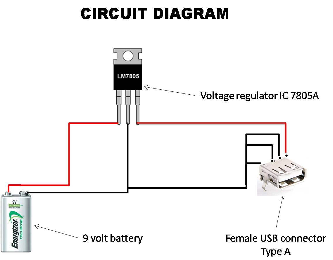 CIRCUIT DAIGRAM OF usb CHARCGER FROM 9V